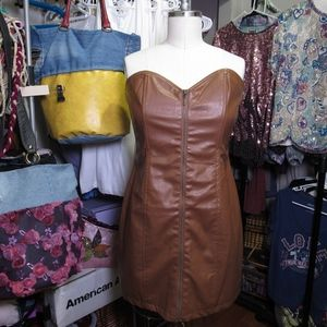 Leather (Faux) dress, Zipper tube dress,